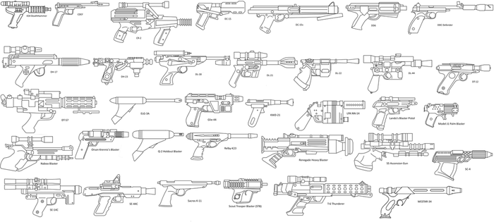 Star Wars Side Blasters lineart by TheFrozenWaffle