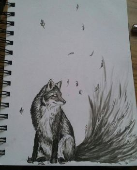 Fox Ink Drawing  by Lynxcall