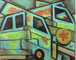 Abstract Mystery Machine Van Painting by TOMMERVIK