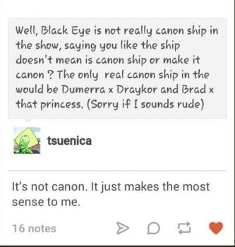 Black Eye confirm is not canon by Tsuenica