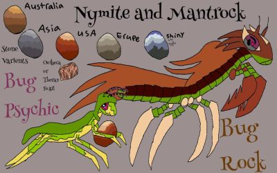 Nymite and Mantrock my fossil bugs by Bluesky-of-Fire