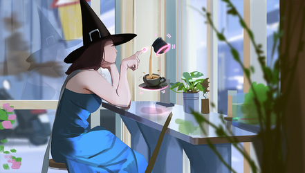 Witch in a cafe by snatti89