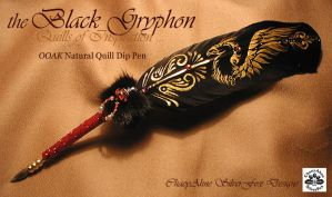Black Gryphon Feather Pen by ChaeyAhne