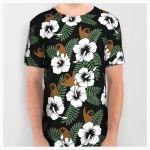 Sloth And Hibiscus Flowers All Over Tee by Slothgirlart