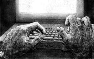Typing at Night: pencil sketch by sethness