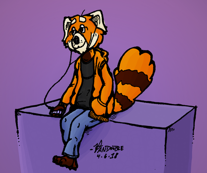 He's probably listening to something stupid by PandoobleDoodle