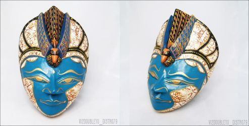 Wooden Eggshell Goddess of Peacock Tail Mask--*SO by Vi2DoubleYu