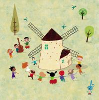 The mill and the children dance by nicolas-gouny-art