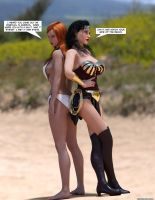 Wonder Woman and Amazonian lover quarrel playfully by thejpeger