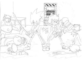 Laharl and Malditinha killing zombies by Icantdrawhands