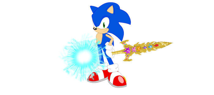 Sonic with speed force orb and sword of harmony by SBoomSonicspeeder