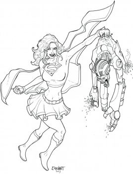 Supergirl Colouring Page by erkhart