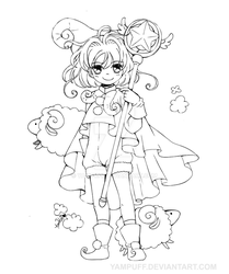 Card Captor Sakura - Sheep Outfit - OPEN LINEART by YamPuff