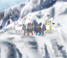 Chris and friends on a snowy mountain :COM: by tigersylveon