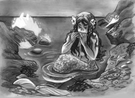 lunch time for the mermaid by audreymolinatti