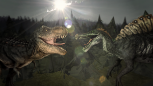 Trex vs. Spino by Divanchik12