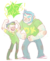 humanized: Mike and Sulley by SteveTwisp