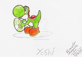 Yoshi and a egg by exhibitzero