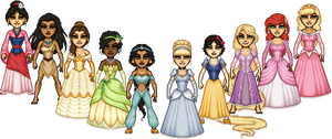 Disney Princesses - Group shot 1 by ThatsSoHaydn