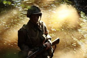 US paratrooper in the river by PvtRogers