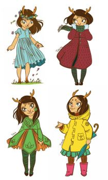 Deer and seasons vectorised by tin-sulwen