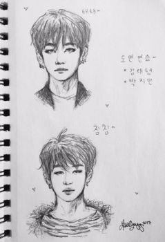tae and jimin sketches ~ bts series 1/3 ~ by princesszoggles