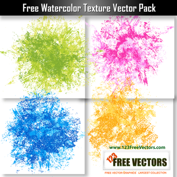Free Watercolor Texture Vector Pack by 123freevectors