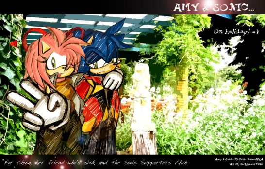 Amy and Sonic on Holiday by darkspeeds