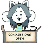 Temmie Commissions Open Stamp by KiraxHuimang