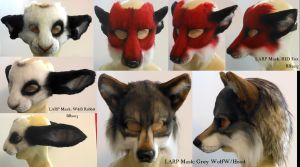Batch of LARP masks by Magpieb0nes