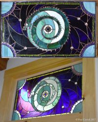 Moon Dragon    stained glass panel by nightserpent