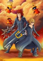 Axel and Roxas (Kingdom Hearts) by VII-Magician