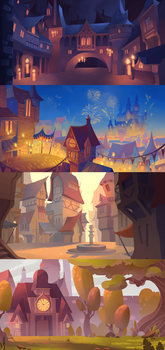 Fairytale backgrounds by ApollinArt