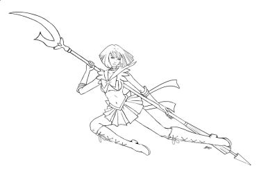 Sailor Saturn - lineart by AerynDiana
