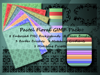 Pastel Floral GIMP Pack by Jedania