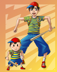 Adult and Chibi Ness (2010) by spoonyliger