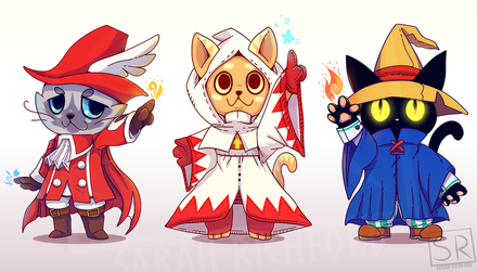 Red Mage, White Mage, Black Mage CATS by SarahRichford