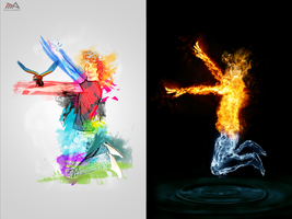 fire, water man  psd by REDFLOOD