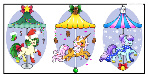 Holiday Carousel Ponies By Yampuff by bhudicae