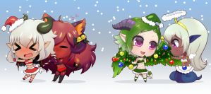 Chibi Christmas Monster Gals by PastellettaArt