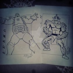 Krang and Shredder (inked over pencil) by Moon-Toons