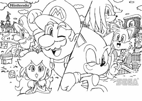 Mario and Sonic Artwork by BlueTyphoon17