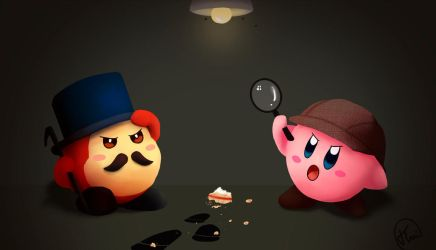 Waddle Dee and Kirby as Watson and Holmes by Thai-Draws
