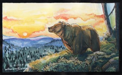 On the top of the world - Watercolor practice No.2 by R-FakonWolf