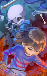 Frisk and Sans by yulpen