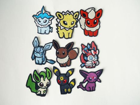 Pokemon Eeveelution Sew On Embroidered Patches by Juliefoo