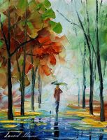 Fall drizzle by Leonid Afremov by Leonidafremov