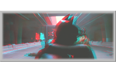 3D anaglyph Batman and Catwoman's kiss by gogu1234