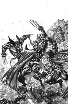Wolverine and Batman vs Dark Claw by RudyVasquez