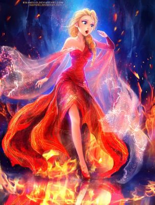 Elsa:The queen on fire by RikaMello